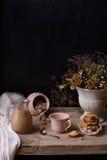 Natura morta d'annata del cacao o del caffè con i biscotti ed il mazzo di inverno, sulla tavola di legno Copi lo spazio Fotografia Stock