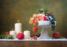 Natura morta d'annata di Natale con le mele Fotografia Stock Libera da Diritti