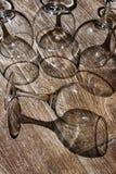 Natura morta dai vetri di vino vuoti Fotografie Stock Libere da Diritti