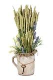 Natura morta dei fiori e delle orecchie di segale in vaso d'annata con le chiavi Immagini Stock