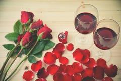 Natura morta dei vetri di vino Immagini Stock