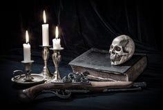 Natura morta del cranio Fotografie Stock