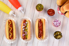 Natura morta del hot dog Fotografie Stock