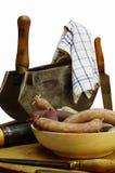 Natura morta del macellaio della carne di salsiccia fotografie stock