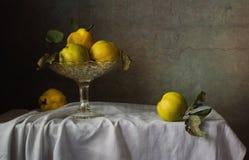 Natura morta della ciotola di frutta e della cotogna della frutta Immagini Stock
