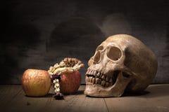 Natura morta della frutta e del vecchio cranio sul bordo di legno Fotografia Stock