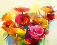 Natura morta della pittura a olio del papavero giallo, rosa e rosso Immagini Stock Libere da Diritti