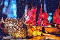 Natura morta della pittura a olio sull'oggetto marino Immagini Stock