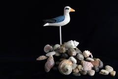 Natura morta della riva di mare sul nero Fotografie Stock Libere da Diritti