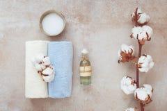 Natura morta della stazione termale con i prodotti di cura di pelle di bellezza Fotografia Stock