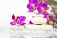 Natura morta della stazione termale con l'orchidea rosa e la pietra bianca di zen Fotografie Stock Libere da Diritti