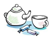 Natura morta delle caramelle e del tè Immagini Stock Libere da Diritti