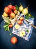Natura morta delle strutture delle mele e degli asciugamani di autunno Immagini Stock