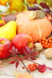 Natura morta di autunno con frutta, le verdure, le bacche ed i dadi Fotografie Stock