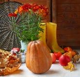 Natura morta di autunno con i gumboots della zucca, della mela e di giallo Fotografia Stock