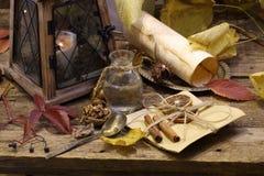 Natura morta di autunno con una lanterna decorativa e le noci fotografia stock libera da diritti