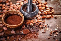 Natura morta di cacao a terra immagine stock
