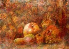 Natura morta di fiaba con i frutti di autunno e dello scoiattolo su fondo astratto Fotografia Stock Libera da Diritti