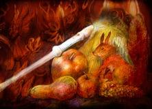 Natura morta di fiaba con lo scoiattolo, il registratore ed i frutti di autunno Immagine Stock