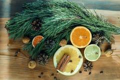 Natura morta di Natale, arancia, tesoro, cannella, rami del pino e nuds Fotografie Stock Libere da Diritti