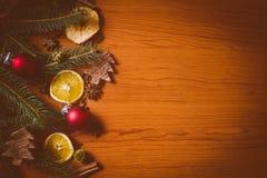 Natura morta di Natale con frutta e le spezie Fotografie Stock