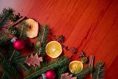 Natura morta di Natale con frutta e le spezie Fotografia Stock