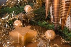 Natura morta di Natale con i giocattoli di Natale Fotografie Stock Libere da Diritti
