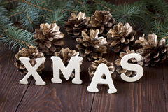 Natura morta di Natale con i simboli luminosi Fotografia Stock