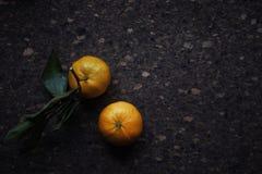 Natura morta di stile di Provencal del pranzo sulla tavola di legno, modello di fiore, mandarini, luce del giorno Immagini Stock Libere da Diritti
