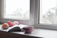 Natura morta domestica accogliente: tazza di caffè caldo, dei fiori della molla e del libro aperto con il plaid caldo sul davanza Immagini Stock Libere da Diritti