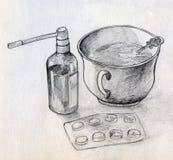 Natura morta domestica della medicina illustrazione vettoriale