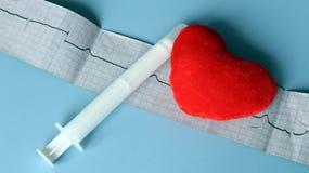 Natura morta medica con informazioni pazienti di salute, cardiogramma, cuore Fotografia Stock