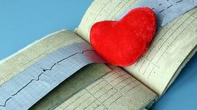 Natura morta medica con informazioni pazienti di salute, cardiogramma, cuore Fotografie Stock Libere da Diritti