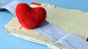 Natura morta medica con informazioni pazienti di salute, cardiogramma, cuore Immagini Stock
