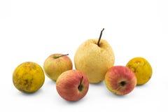 Natura morta mista della frutta su fondo bianco Fotografie Stock Libere da Diritti