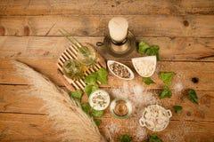 Natura morta naturale degli ingredienti di cura del corpo Immagine Stock Libera da Diritti