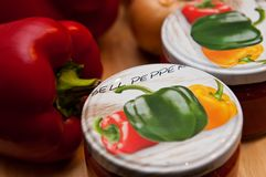 Natura morta rossa casalinga della paprica Fotografie Stock