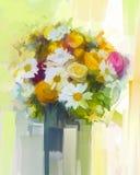 Natura morta un mazzo della pittura a olio dei fiori Fotografia Stock
