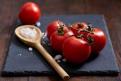 Natura morta vegetariana con i pomodori, il pepe ed il sale freschi dell'uva in cucchiaio di legno su fondo di legno, fuoco selet Immagini Stock Libere da Diritti
