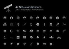 Natura, nauka i chemii sieci ikony dla Czarnego tła, royalty ilustracja
