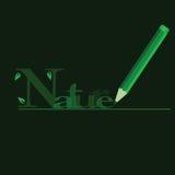 Natura nel verde con la penna di legno verde Immagini Stock