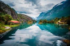 Natura Norvegia del lago Lovatnet bella Fotografia Stock Libera da Diritti