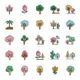 Natura, parchi ed insieme delle icone di vettore degli alberi che può essere modificato e pubblicare facilmente in tutta la dimen royalty illustrazione gratis