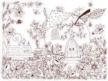 Natura & parchi Illustrazione di fiaba una mela nella casa della forma illustrazione di stock