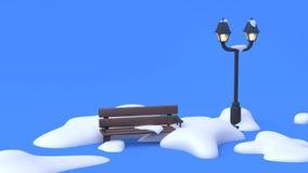 Natura parków krzesła lampa błękitnego sceny błękitnego tła kreskówki abstrakcjonistyczny styl 3d odpłaca się natury zimy pojęcie ilustracja wektor