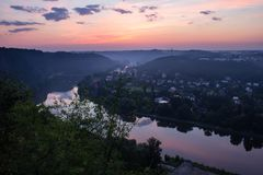 Natura punkt obserwacyjny Vltava meander w wschodzie słońca zdjęcia stock
