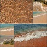 Natura selvaggia del mare Collage di vacanza le immagini del mare ondeggiano ed insabbiano la raccolta delle immagini tonificate Fotografie Stock Libere da Diritti