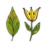 Natura tatuażu sztuka Koszulka druku projekt Śliczni doodle majchery royalty ilustracja