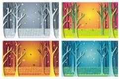 Natura ustawiająca z 4 sezonami ilustracja wektor