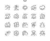 Natura Wykonująca ręcznie piksla Perfect wektoru ikon 30 Cienka Kreskowa 2x siatka dla sieci Apps i grafika ilustracja wektor